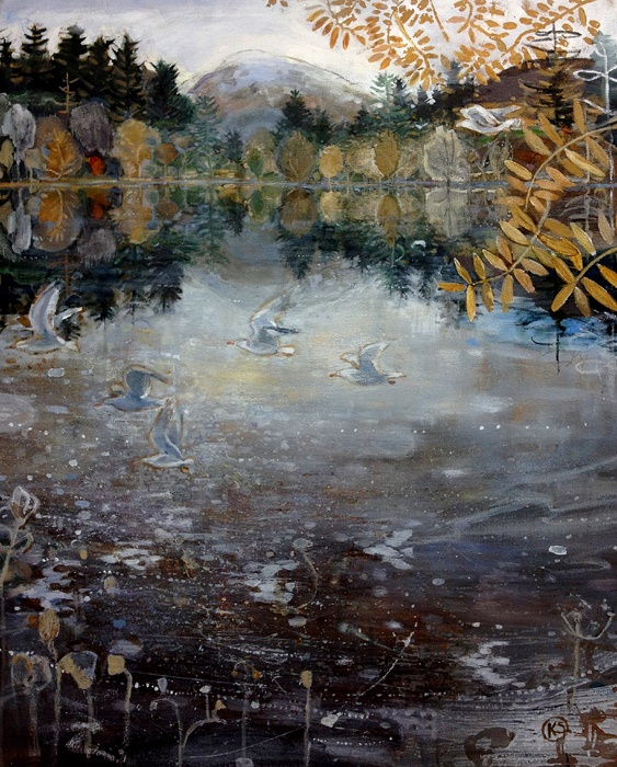 Gulls above the Lochanacrylic on canvas