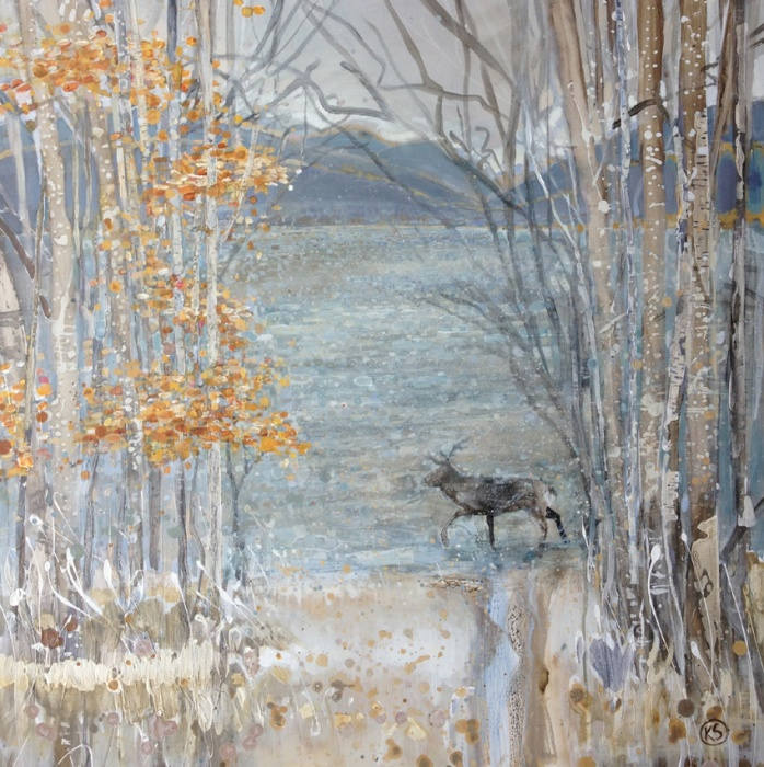 Autumn trees and the Stag walks forwardacrylic on canvas