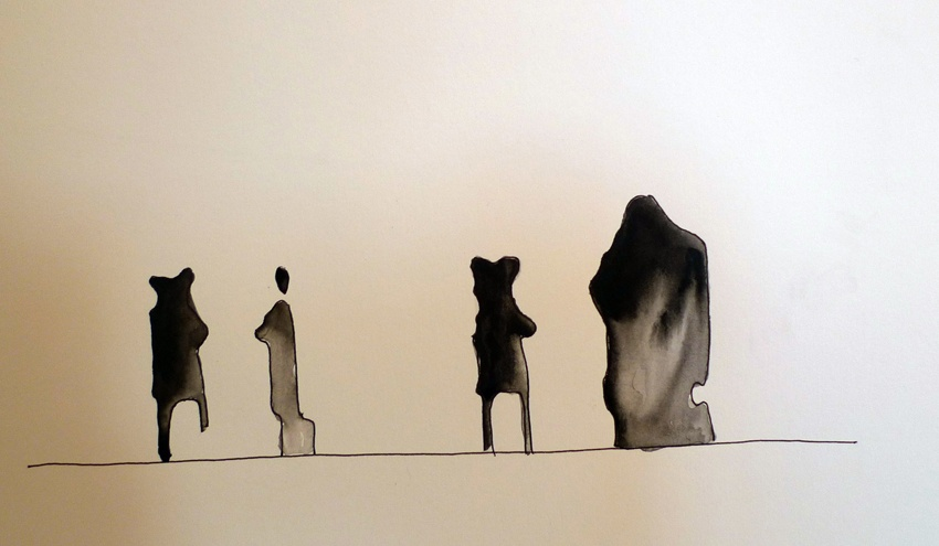 People on platform, JapanInk on paper36.5 x 12 cm 2010