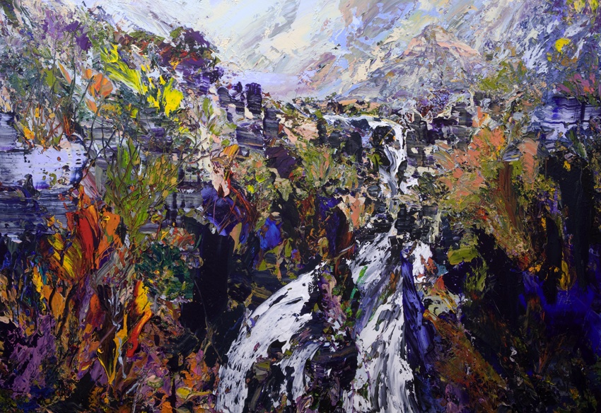 Falls Coire Mhic Nobuill, TorridonAcrylic on canvas109 x 160 cm2011